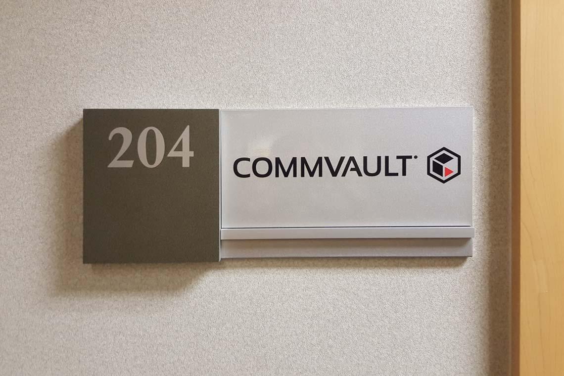 Wayfinding sign for Commvault