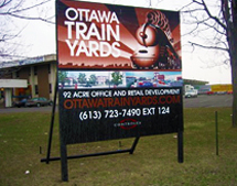 Billboard installed at the Ottawa Train Yards by Miller McConnell Signs