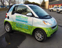 Nutri-Lawn vehicle wrap installed by Miller McConnell Signs