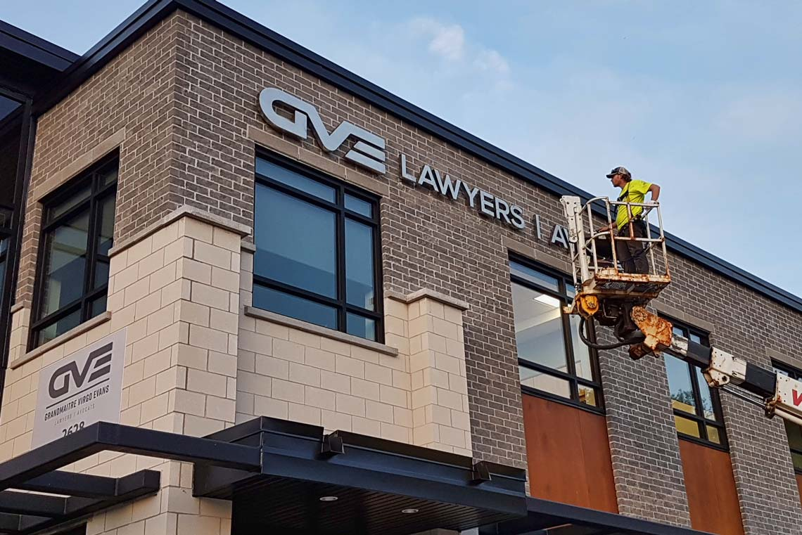 Channel Lettering Installation for GVE Laywers